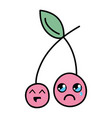 kawaii cute happy and crying strawberry fruit vector image vector image