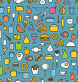 Kitchen tools and meal silhouette icons vector image