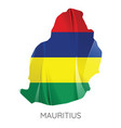 map mauritius with an official flag on white vector image