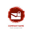 message secure icon - red watercolor circle splash vector image