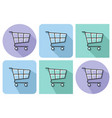 outlined icon of shopping trolley with parallel vector image vector image