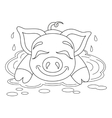 Piggy resting on water puddle coloring book page vector image vector image