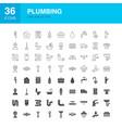 plumbing line web glyph icons vector image