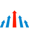 red and blue arrows rise up rating raising vector image vector image