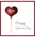 red helium balloon heart shape valentine card vector image vector image