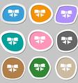 Ribbon Bow icon symbols Multicolored paper vector image vector image