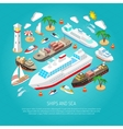 Sea and ships concept vector image vector image
