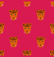 seamless pattern with face leopard vector image