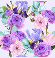 seamless pattern with roses and iris vector image