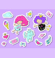 set cute stickers with hearts love flower and vector image