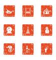 shamanism icons set grunge style vector image