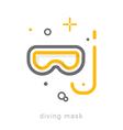 Thin line icons Diving mask vector image