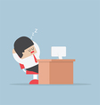 Tired businessman falls asleep at his desk vector image vector image