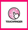 touch fingerprint app logo vector image vector image