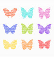variety colorful butterfly set vector image vector image