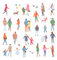 winter and autumn warm clothes people walking vector image vector image