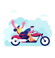 young loving couple riding motorbike on nature vector image