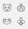 zoology icons set collection of bear bumblebee vector image vector image