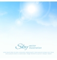 Bright summer sun and clouds sky background vector image