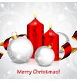 christmas candles and balls red white vector image