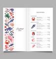 seafood restaurant menu template vector image
