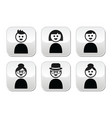 User young and old people buttons set vector image