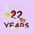 22 years anniversary celebration card vector image vector image