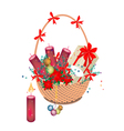 A Brown Basket of Christmas Gift and Ornament vector image