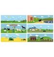 Beautiful Farmyard Cartoon Banners vector image vector image