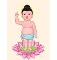 Buddha Birthday Little Buddha stands on lotus vector image