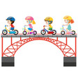 children riding bike on the bridge vector image vector image
