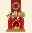 christmas fireplace with gifts socks and candles vector image vector image