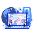 concept cadastral engineers surveyors on laptop vector image vector image