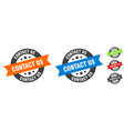 contact us stamp us round ribbon sticker vector image vector image