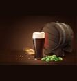 dark porter beer in glass cup and wood barrel vector image vector image