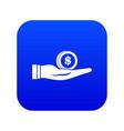 dollar in hand icon digital blue vector image vector image