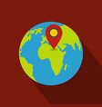 earth navigation icon flat style vector image vector image