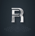 elegant silver font Letter R Template for company vector image