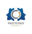 face to human character connect logo concept vector image