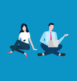 freelancers man and woman with laptop digital vector image vector image
