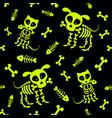halloween seamless pattern funny skeleton skull vector image vector image