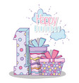 happy birthday celebrate one year with presents vector image vector image