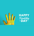 happy friendship day paper cut hand shape banner vector image