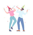 happy young persons celebrate on corporate holiday vector image