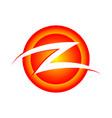 initial z lettermark circular burning slash vector image vector image