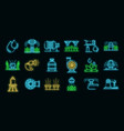 irrigation system icons set neon vector image vector image