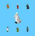 isometric person set of female doctor lady and vector image vector image