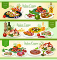 italian cuisine meat dishes with vegetables bread vector image vector image