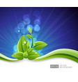 lighting blue background with eco leaves and vector image