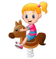 little girl playing rocking horse vector image vector image